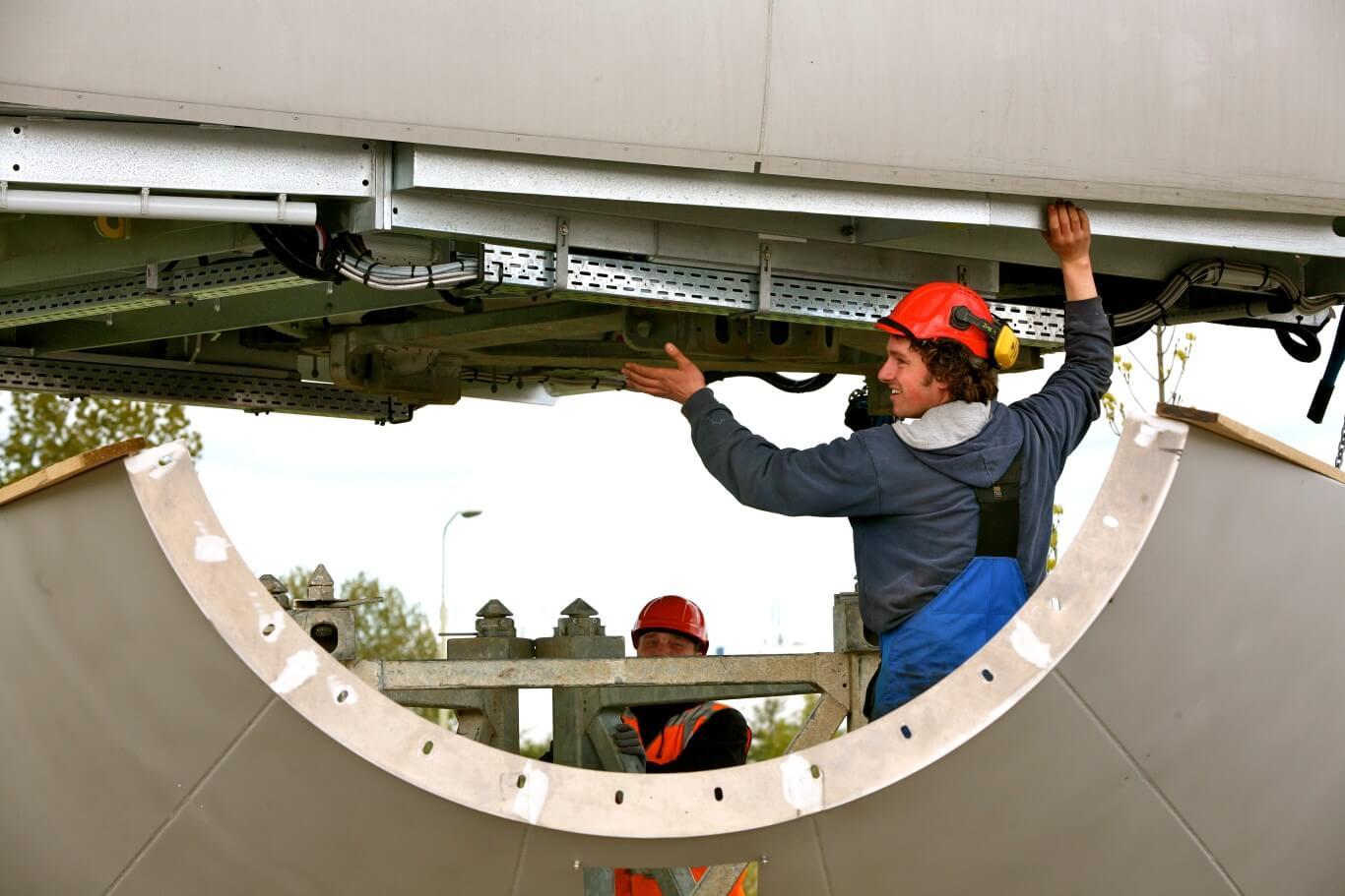 Reclamefotografie voor brochure Eneco, bouwproject windturbinepark Heerhugowaard
